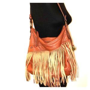 BORN Crown Brown Fringe Leather Boho Shoulder Bag